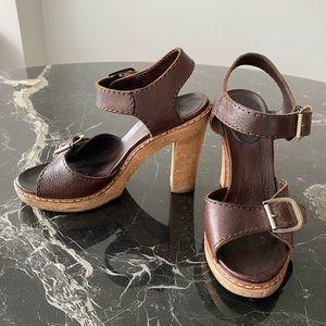 Chloe Brown Sandals Wood Heels From Intermix